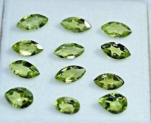 Loose-Gem-Stone-7-65-CT-Natural-Green-Peridot-12-Pcs-Untreated-AAA-Quality-VVS