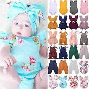 Newborn Infant Baby Girl Summer Romper Jumpsuit Playsuit Bodysuit Clothes Outfit
