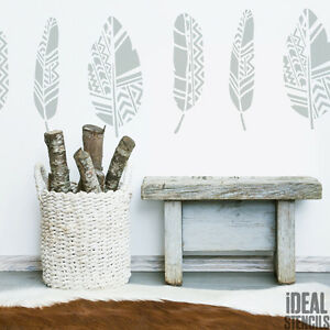 Delicieux Image Is Loading Aztec Scandinavian Feathers  Stencil Decorating Paint Walls Fabrics
