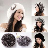 Real Farm Rex Rabbit Fur Hats Women Special Design Rabbit Fur Hat Beret Caps