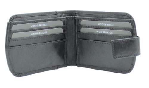 WOODBRIDGE MENS GENUINE LEATHER WALLET CREDIT CARD HOLDER COIN POUCH 4009M-BLACK