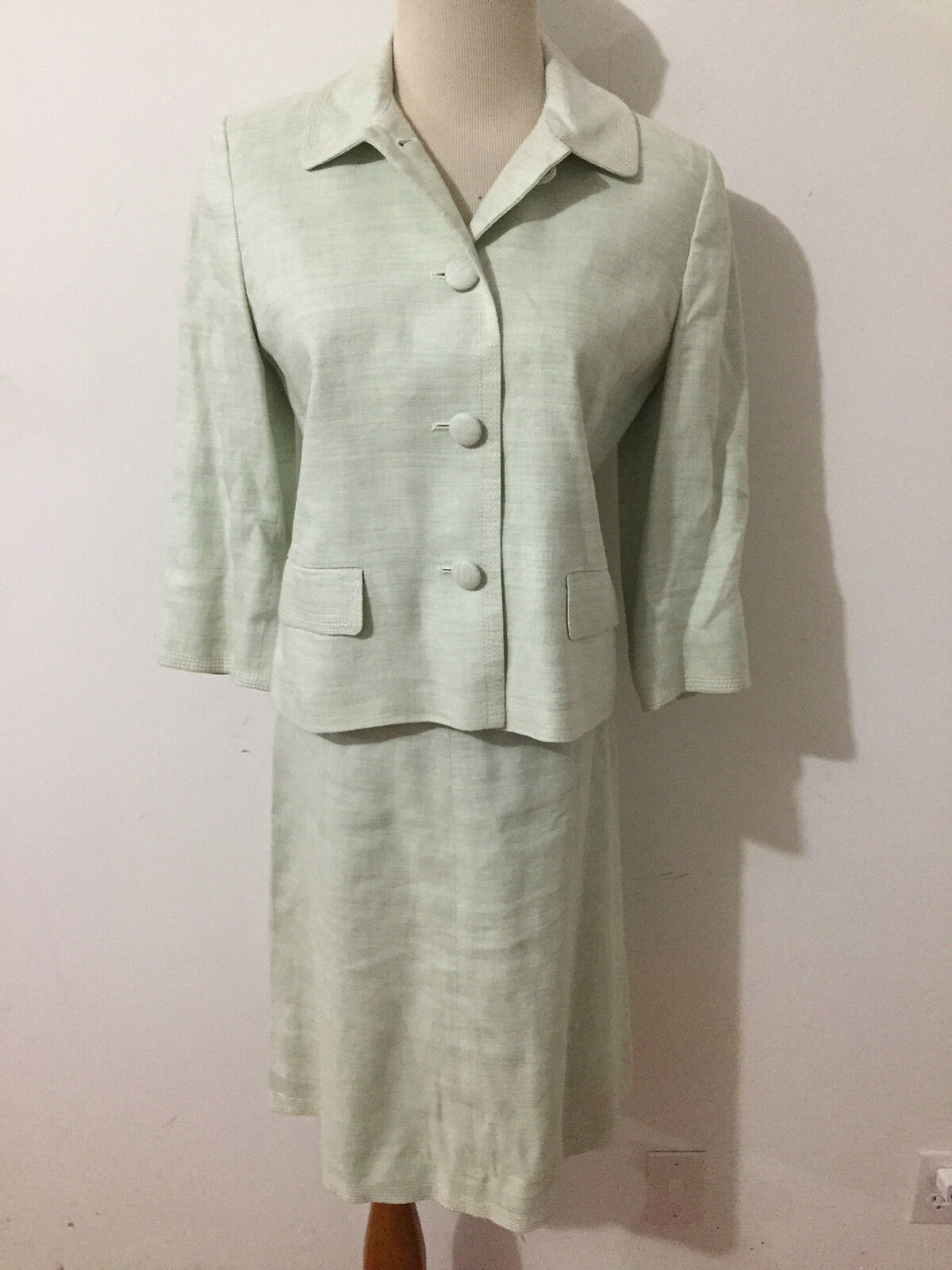 Ann Taylor LOFT Petites Skirt Suit Sea Foam Linen Blend Size 4P Blazer 2P Skirt