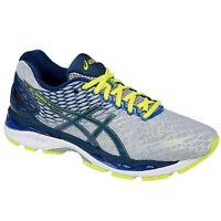 Asics Men's Gel Nimbus 18 Running Shoes Silver Ink Flash Yellow T600N 9351 D, 2E