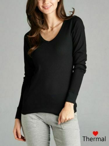 Woman Thermal V-Neck Top T-Shirt Solid Plain Waffle Knit S-3X