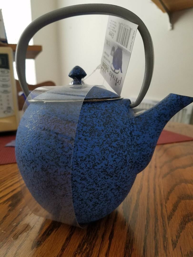 Japanese bluee 40 Ounce Oz Enamel Cast Iron Pot Bag Teapot Mesh Tea Pot Infuser