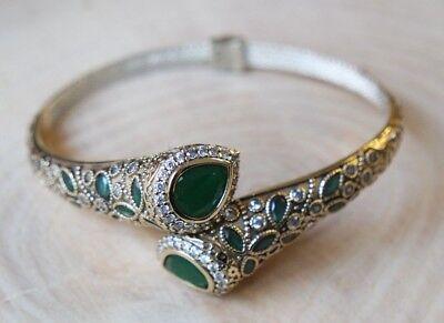 Turc fait main bijoux Argent sterling 925 Emerald Bracelet Bangle Cuff
