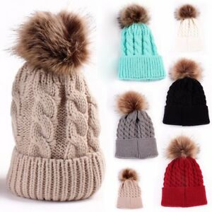 FASHION MOM WOMEN'SKIDS GIRLS BOY CROCHET KNITTED HATS SKULL CAPS WOOL FUR BALL