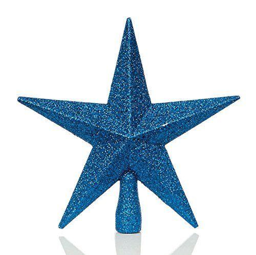 Christmas tree topper décoration 200mm incassable paillettes star-m bleu
