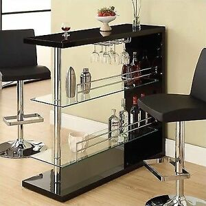Ordinaire Bar Table With Two Glass Shelves In Gloss Black Finish By Coaster 100165