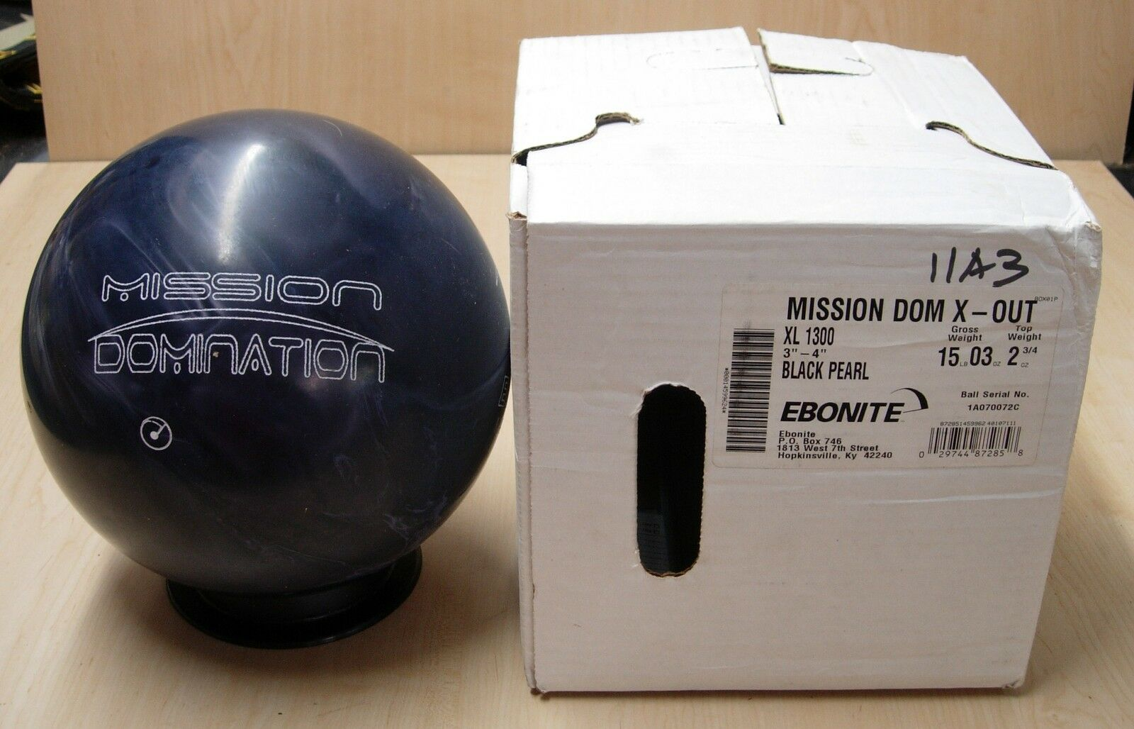 =15oz TW 2-3 4 NIB New In Box Undrilled 2011 X-OUT Ebonite Mission Domination