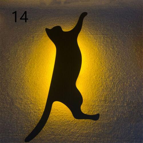 Romantic LED Night Lamp Light Sound Sensor Cat Silhouette Energy Saving Light