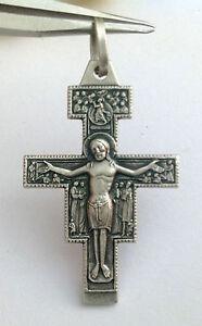 Saint Damiano Crucifix Argent Sterling 925 De Assisi-italien Masterpiece-afficher Le Titre D'origine Nombreux Dans La VariéTé