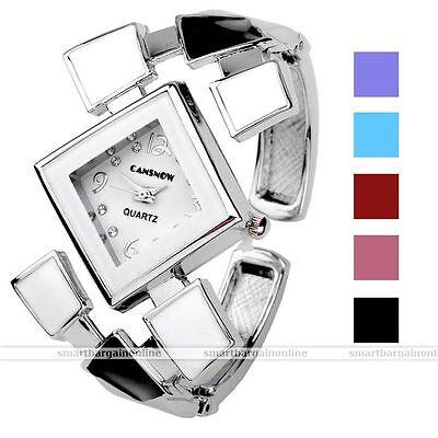 1pc Silvery Square Case Quartz Analog Wrist Band Watch Bracelet Fashion Jewel