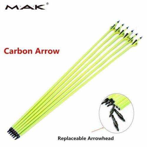 "6pcs 30/"" Archery Carbon Arrows Plastic Vanes Spine 500 Fit Bow Hunting"