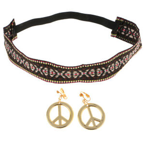 Image Is Loading Hippie Headband Gold Peace Sign Earrings Set Women