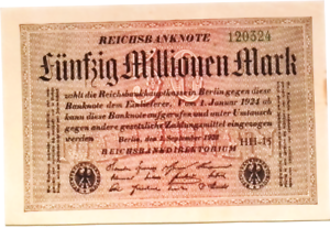 50 million mark banknote Weimar Republic 1923 Germany 50.000.000