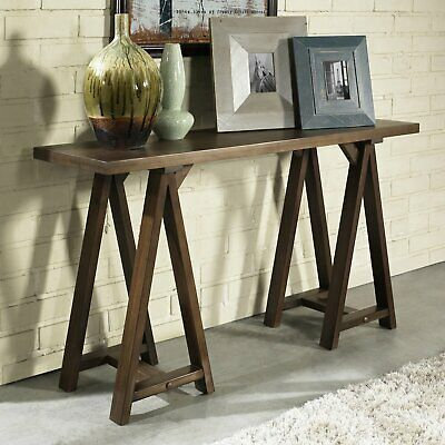 Console Table Farmhouse Brown Solid Wood Finish Rustic Country Style ...