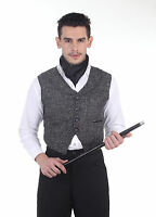 Men's Steampunk Black Jute English Style Mechanic's Waistcoat Vest Steam Attire
