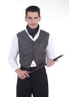 Men's Steampunk Black Jute English Style Mechanic's Waistcoat Vest Steam Attire