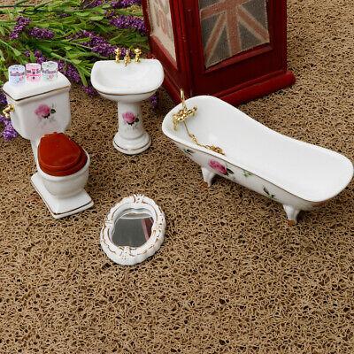 Dollhouse Miniature Ceramic Potty w// Pink Floral Design