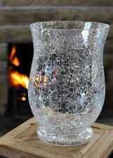 Large Silver Clear Glass Crackle Mosaic Vase Hurricane Art Deco