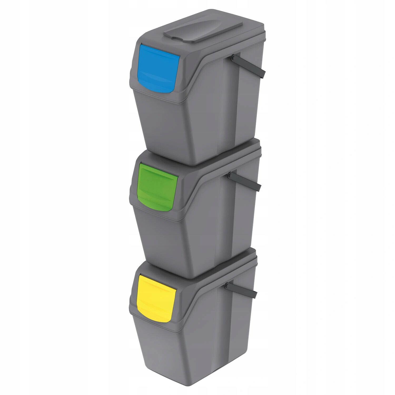 Cubos de Basura Segregación 3x25l Tapas de Colores Pegatinas Sistema Reciclaje