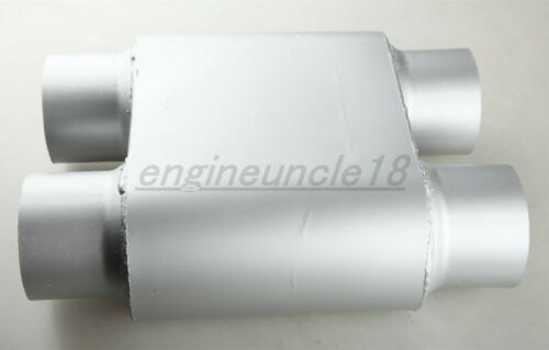 """New Racing Performance Dual 3/"""" Inch Inlet 3/"""" Outlet Chamber Muffler Silencer"""