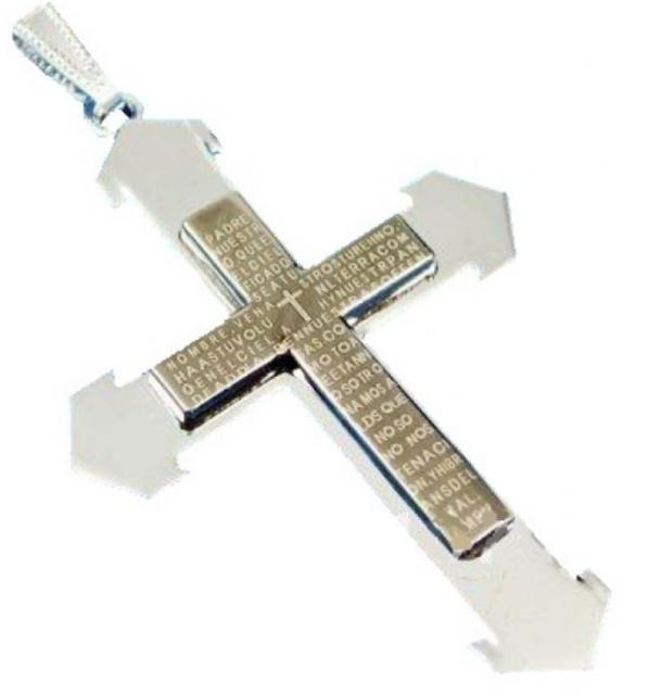 Men's Stainless Steel Black Prayer Cross Necklace N86