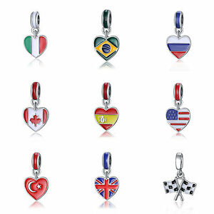 Country-Heart-Flag-Enamel-Dangle-Bead-Fit-European-925-Silver-Charms-Bracelet