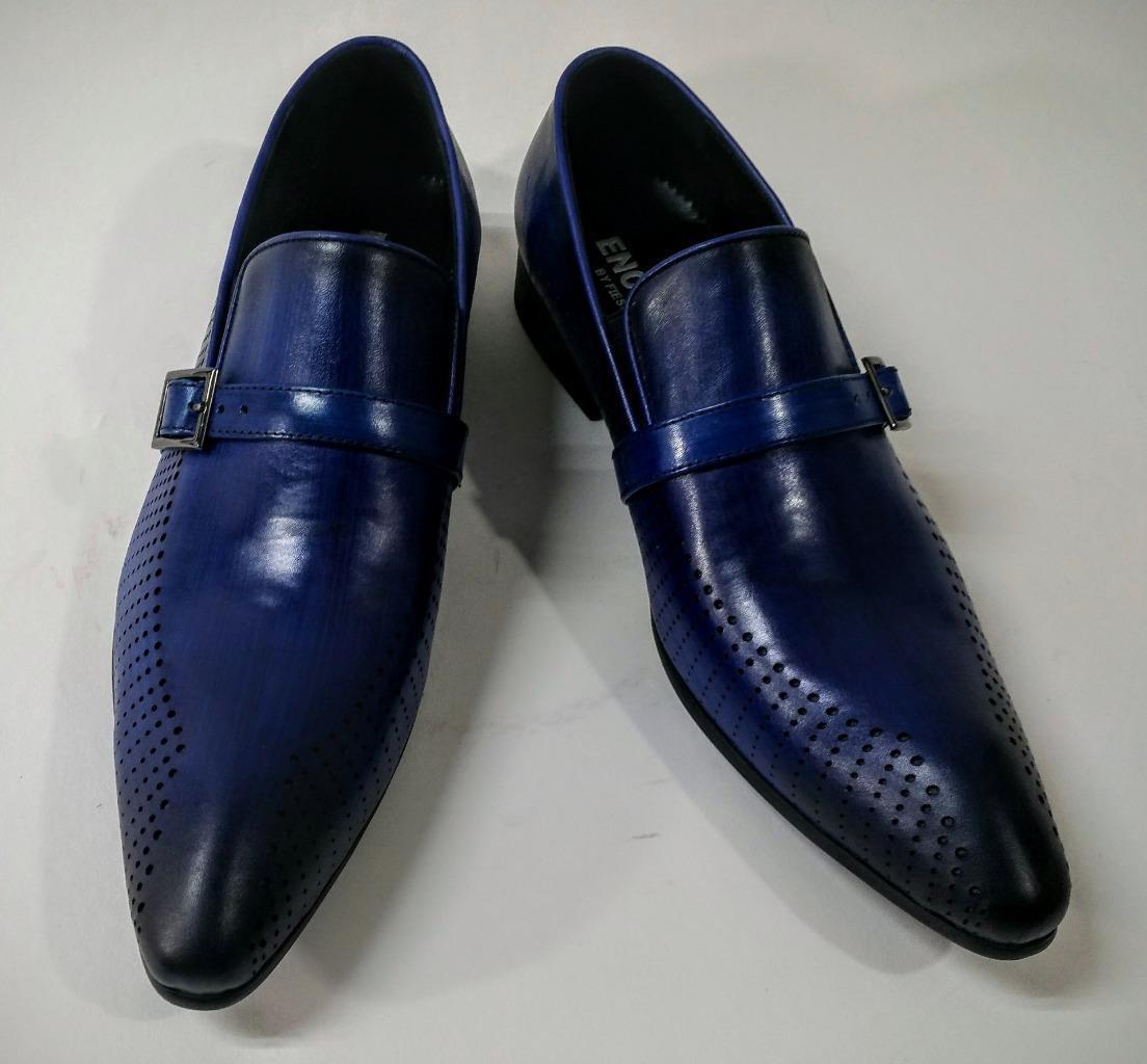 risparmia il 60% di sconto New Encore blu blu blu Pointed Toe Leather Slip on Dress scarpe w  Buckle FI 6924  prezzo all'ingrosso e qualità affidabile