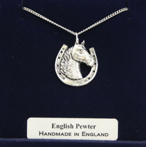 Horseshoe with Horse Necklace in Fine English Pewter Handmade Gift Boxed