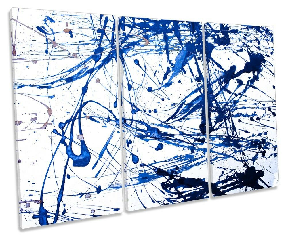 Blau Paint Splashes Abstract TREBLE CANVAS WALL ARTWORK Print Art