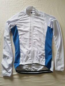 Mens-Blue-and-White-Cycling-Bike-Jacket-Longsleeve-Full-Length-Zip-Medium-NEW