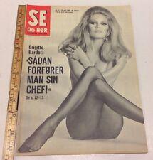 BRIGITTE BARDOT Front Cover on Vintage Danish Magazine Se og Hør 1969 23rd May.