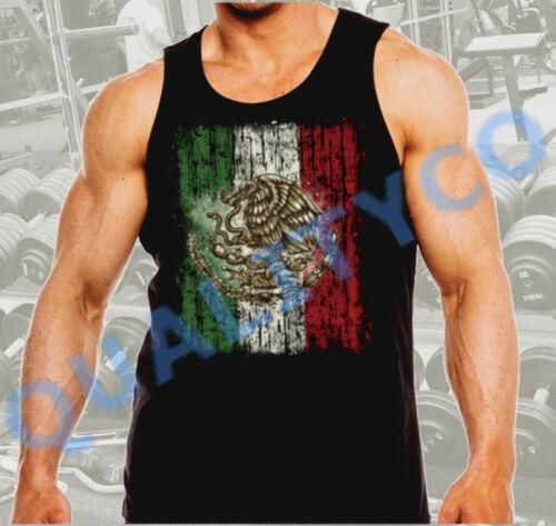 Men/'s Mexican Flag Workout Gym Bodybuilding Mexico Black Muscle Tank Top