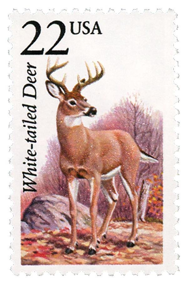 1987 22c White-Tailed Deer, North American Wildlife Sco