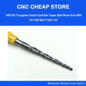 R1.0*D8*60*100L HRC55 Tapered Ball Nose End Mills taper cone CNC wood endmills