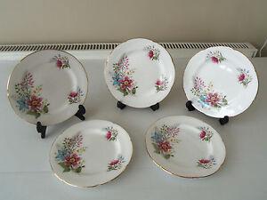 VINTAGE-ROYAL-GRAFTON-CHINA-TEA-SIDE-CAKE-PLATES-X-5