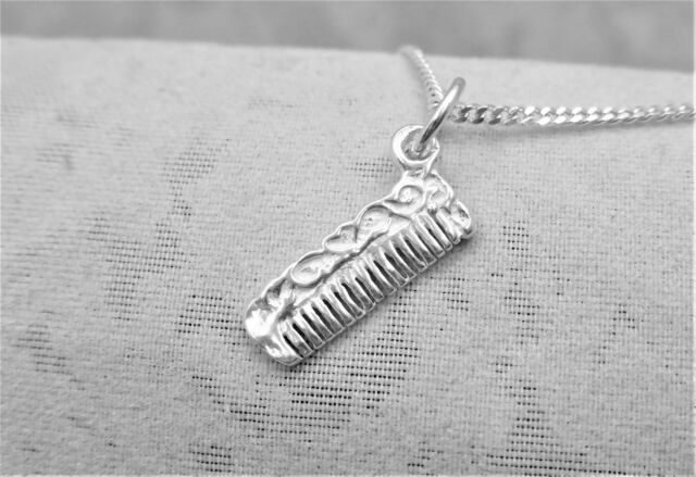 """Sterling Silver (925)  Solid 3D Charm """"Comb"""""""
