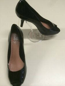 3bf5ed7d42 Vince Camuto Women's Shoes Kiras Black Patent Leather Open Toe Pumps ...