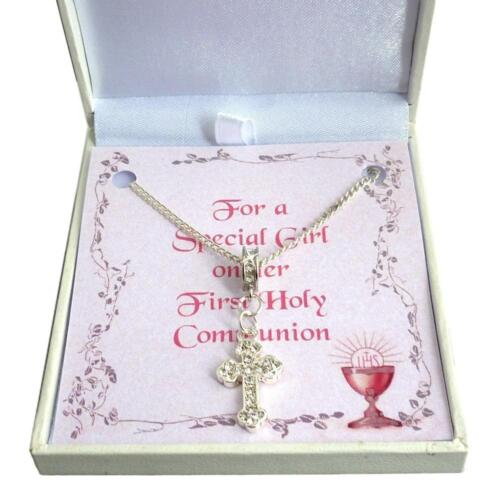 Crystals /& Gift Box First Holy Communion Necklace for Girl with Cross Pendant