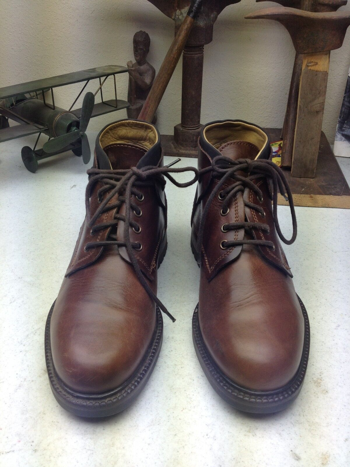 MADE IN ITALY KENNETH COLE DISTRESSED BROWN LEATHER 9 HIKING TRAIL BOSS BOOTS 9 LEATHER D ead769