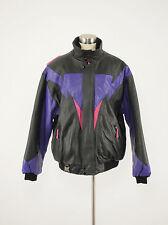 1990s CKX Vintage Purple/Black Leather Snowmobile Bomber Jacket Large L