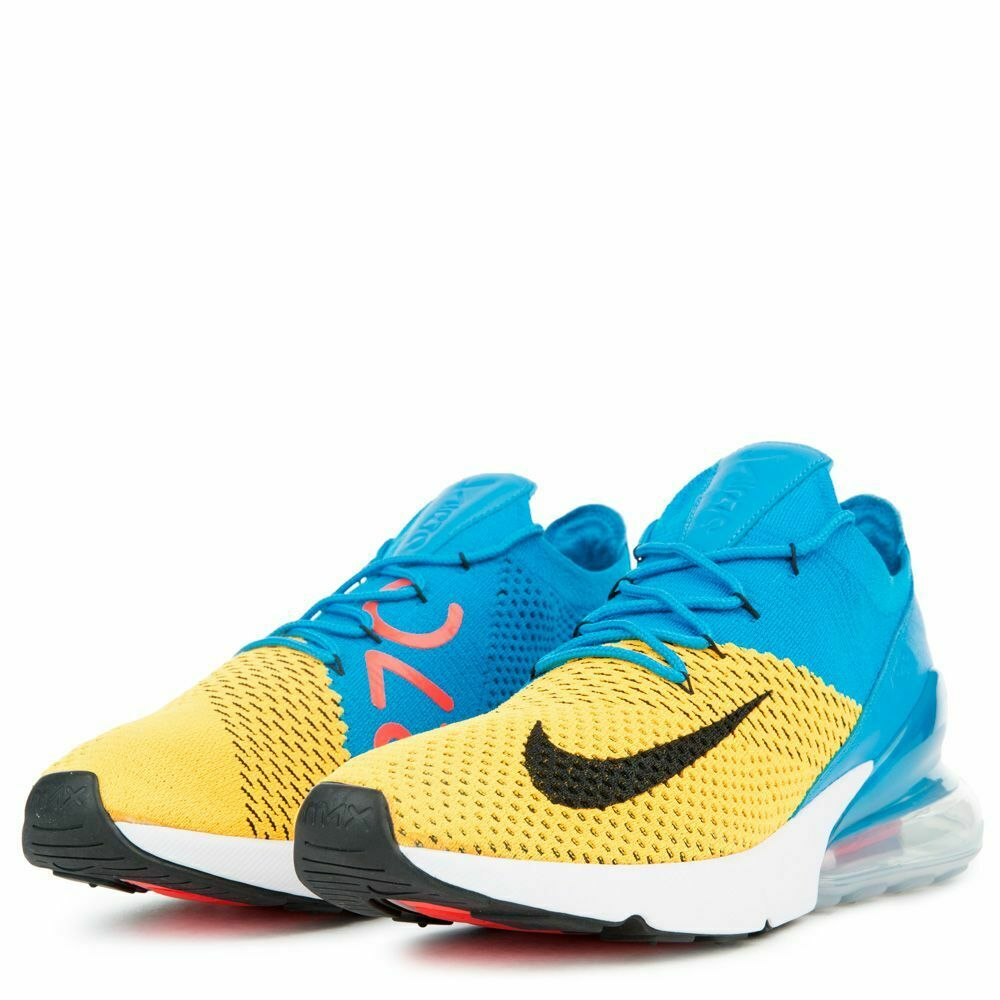 Men's Nike Air Max 270 Flyknit New Men's Yellow blueee Running shoes Size 9.5