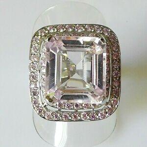 Unikat Zart Rosa Kunzit Saphir Damen Cocktail Ring 925 Sterlingsilber 18,4 mm 58