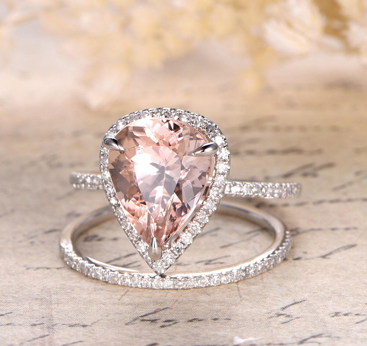 Claw Prongs 8x12mm Pear Cut Morganite Halo Diamonds Trio Ring Set 14K White gold