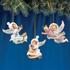snow wonder set 2 angel baby ornament set of 3 angels figures