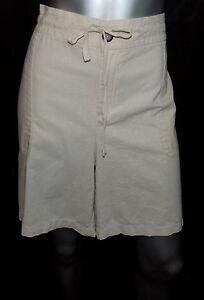 LANE-BRYANT-NEW-Beige-Drawstring-Waist-w-Pockets-Linen-Blend-Shorts-Plus-sz-28W