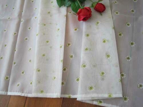 Fresh Pretty Yellow Daisy Flower Printed Ivory Sheer Cafe Curtain 92cm Drop CL