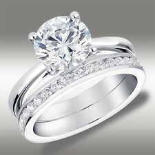 Brilliant Round Cut Engagement Ring 2.52 Ct Channel Wedding Band 14k White Gold